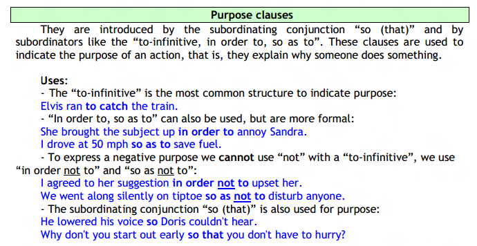clauses of purpose exercises pdf